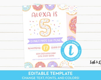 Doughnut 5th Birthday - Donut Fifth Birthday - Donut Party Invitations - Editable Birthday Invitation - Printable Invitation - Templett