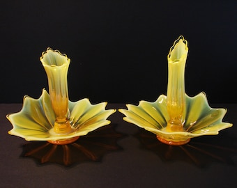 Fostoria Yellow Opalescent Heirloom Epergne Candle Holders, Pair, Vaseline Glass, Removable Vases, Thrown Art Glass, Uranium, Centerpieces