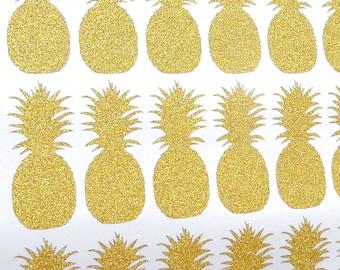 30 glitter Pineapple stickers, gold pineapple invitation seal, pineapple birthday favor,  glitter envelope seal, tropical wedding decor