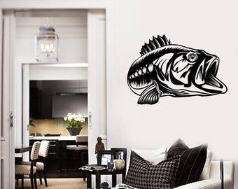 Fish Vinyl Wall Decal Fishing Shop Sea Lake Hobby Home Interior Stickers Mural (#2714di)