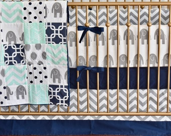 SHIPS TOMORROW - SALE - Navy, Mint and Gray Elephants Crib Bedding, safari nursery, toddler, quilt, patchwork blanket, bumpers, skirt, sheet