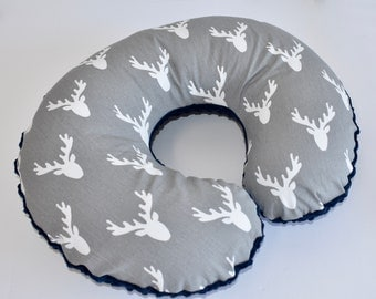 Deer Head on Grey Cover - deer, nursing pillow cover, woodland nursery, boy , grey and navy