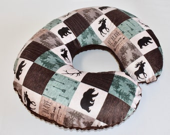 SHIPS TOMORROW - Woodland Cover, nursing pillow cover, patchwork , minky , lumberjack, boy nursery, deer, moose, baby bear