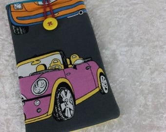 BMW Mini Cars Large Phone Glasses Case fabric elastic button Handmade in England