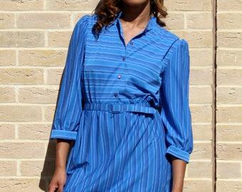 80's Shirt Dress in Blue Vintage Shirt Dress Retro Striped Dress 80's Dress Blue Vintage Dress Retro Women's Clothing