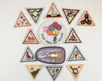 Girl Scout Merit Badges, Group of 14 Vintage Brownie Badges, Cooking, Science, Math, Nature, Cookie Sales, Fund Fest, Achievement Awards