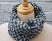 Knitted Geometric Cowl/Snood made from Shetland Wool - Grey & Blue, Sustainable, Mod, Headband, Cycling, Winter, Gift for men, him, scarf