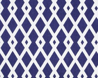 Decorator Fabric by the Yard - Graphic Fret Ultramarine - by Robert Allen