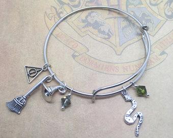 Slytherin - Harry Potter themed expandable charm bangle, bracelet.