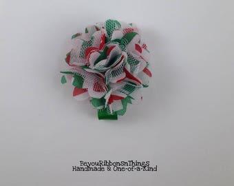 Christmas Flowers   Satin Mesh   Hair Clips for Girls   Toddler Barrette   Kids Hair Accessories   Green Grosgrain Ribbon   No Slip Grip