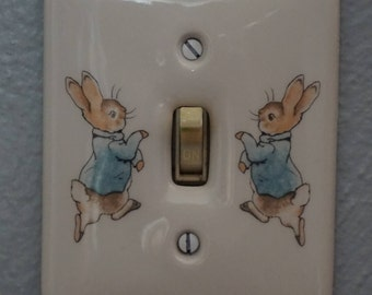 Vintage Wedgwood Peter Rabbit Light Switch Cover/Frederick Warne and Co./Made in England/Beatrix Potter