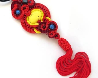 Yellow Red Soutache Necklace Pendant Red Bohemian Necklace Pendant Bohemian Jewellery tassel Red Hippie Necklace Pendant tassel Necklace