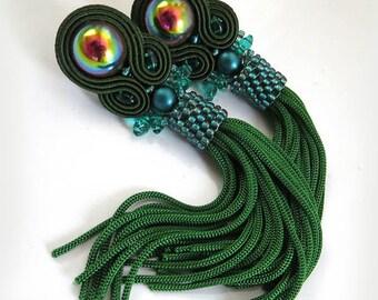 Green Tassel Earrings Emerald Earrings, Green Tassel Earrings Green Earrings, Dangle Earrings, Soutache Jewelry