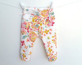 Baby Floral Leggings, Pink and Gold Baby Clothes, Floral baby Leggings,Rose Print Baby Leggings