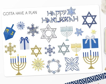 Planner Stickers Hanukkah/Chanukah Variety Deco for Erin Condren, Happy Planner, Filofax, Scrapbooking