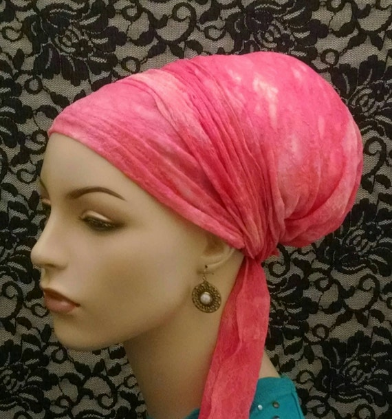 Coral tie dye lace sinar tichel, tichels, chemo scarves, head scarves, hair snoods