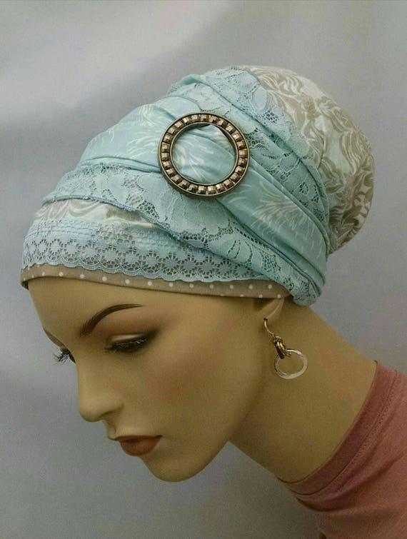 Stunning blue modern floral sinar tichel, tichels, chemo scarves, head wraps, head scarf
