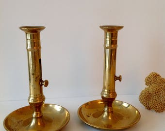 Two vintage candle holders, antique french Brass candlestick