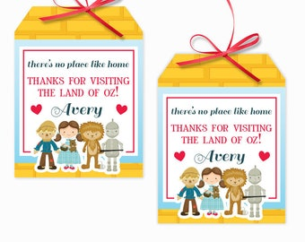 Personalized Wizard of Oz Party Printable Hang Tags, Wizard of oz Party Custom Thank You Tags, Wizard of Oz Party, 3x4 Gift Tags
