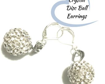 Crystal Disc Ball Earrings, Beautiful Sparkling Silver Earrings, Girlfriend Gift, Disco Look Earrings, Caring Gift, Glamorous Gift Choice