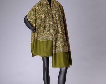 Pashmina Shawl Neem Jama Embroidery Royal Green