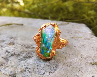 Mermaid Lagoon Turquoise Iridescent Electroformed Quartz Ocean Resin Ring