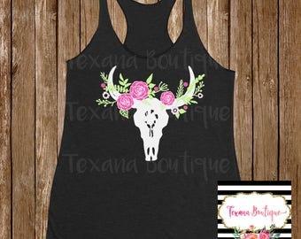 Floral cow skull shirt, floral shirt, women's western shirt, women's floral shirt, womens country tank tops, cow skull shirt, women's tanks