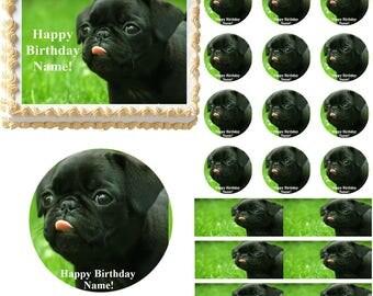 Pug Dog Edible Cake Topper Image Frosting Sheet Cake Decoration, Pug Cake, Pug Cupcakes, Pug Party Supplies, Pug Birthday, Edible Image