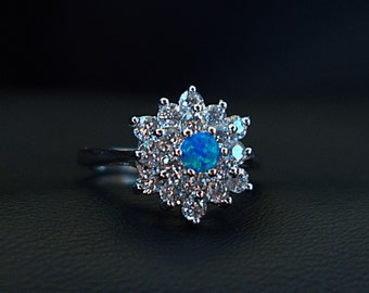 Blue Fire Opal & CZ Crystals Sterling Silver 925 Ring Size 7