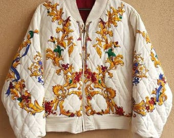 Quilted Baroque Versace/Hermes Style Reversible Bomber Jacket. Royalty,Swagger, Hip Hop Pop Art
