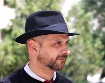 French Fedora Hat - Vintage French Hat - Gelot Paris Black Hat - Fedora Trilby Homburg Hat - Rare Felt Trilby Hat - Womens Hat - Mens Hat