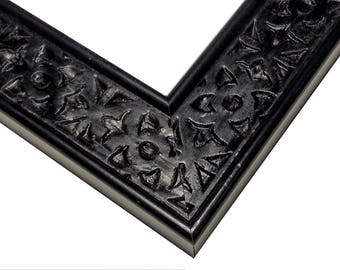 Hand Carved BLACK Picture, Distressed Wood, Photo Frame, Celtic, 4x6, 5x7, 8x10, 16x20, 20x24, 24x30 Wedding, Unique, Red, Walnut, White
