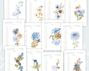 Wall Calendar 2018 - Printable Wall Calendar • Famous Quotes • Watercolor Design • Gold and blue colour • Instant Download