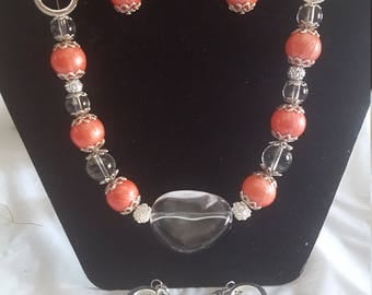 Coral and Clear Jewelry Set