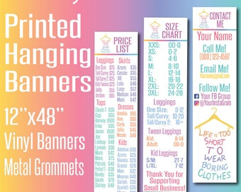 Printed LLR Banner 4' - LLR Price List, Size Chart and Contact Banners - Vinyl Banners - LLR Pop Up Boutique