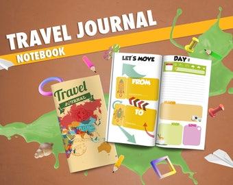Traveler's Notebook TRAVEL JOURNAL insert - Printable Digital Download PdF - Midori notebook - travel diary