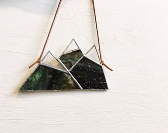 "Earth • 2.75 x 5"" Stained Glass Small Snowcapped Mountain Range • Suncatcher • Nature"