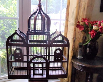 Vintage Large Palace Style Bird Cage, Domed Victorian Style Wood & Wire Birdcage, Large Moroccan Style Taj Mahal Collectible Bird Cage,1930s