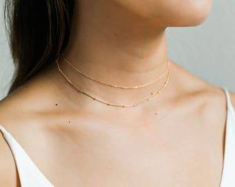 Gold Choker Set / Satellite Choker / Dainty Choker Necklace / Gold Beaded Necklace / Layering Necklace / Delicate Necklace Set Gift for Her