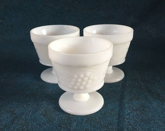 Vintage Grape Pattern Milk Glass Sherbet Cups or Champagne Glasses, Set of 3