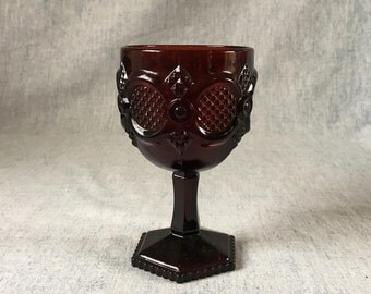 Vintage Avon Ruby Red Glass Cape Cod Collection Water Goblet