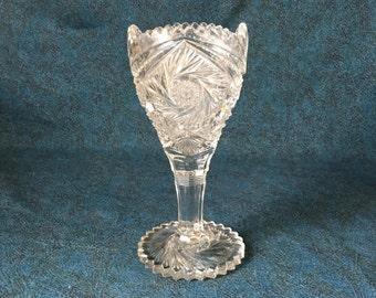 Vintage EAPG Pinwheel Trumpet Vase