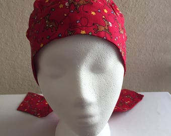 Child Cancer Hat - Chemo Hat -  Head Coverings - Child - Chemo Hat - Hair Loss - Youth Cotton Chemo Hat - Reindeer
