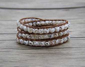 White agate beads bracelet leather wrap bracelet Boho Beads bracelet 3 wraps bracelet yoga bracelet white beads jewelrySL-0569