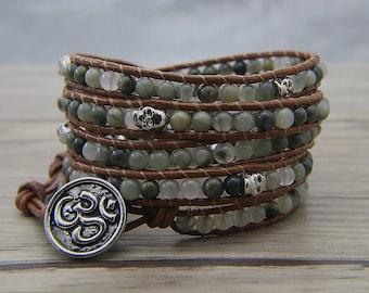 5 wrap bracelet skull beads bracelet yoga beads bracelet smaragdite bracelet leather wrap bracelet skull bracelet green wrap braceletSL-0593