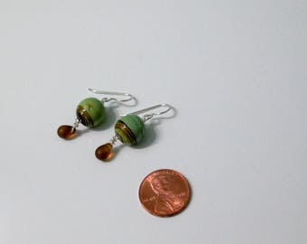 Beach Glass Earrings, Ceramic Earrings, Green Earrings, Brown Earrings, Neutral Earrings, Earth Tone Earrings, Sterling Silver