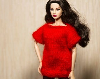Barbie clothes Barbie sweater Handmade knitted sweater for Fashion Royalty and Barbie dolls