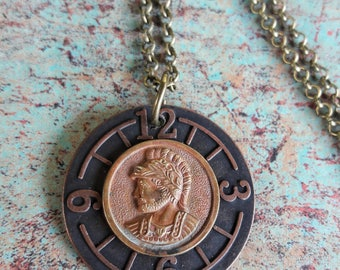 Roman Soldier Coin on Watchface  Embellishment Steampunk Necklace, Steampunk Coin jewelry