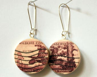 1956 Wildlife Conservation U.S. Postage Stamps Handmade Recycled Paper Earrings