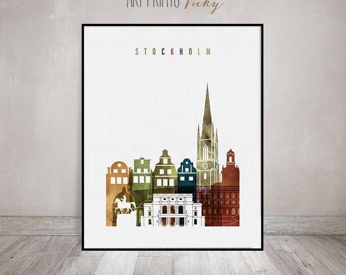 Stockholm art print, Stockholm skyline wall art, Stockholm watercolor poster, travel decor, housewarming gift, wall decor, ArtPrintsVicky